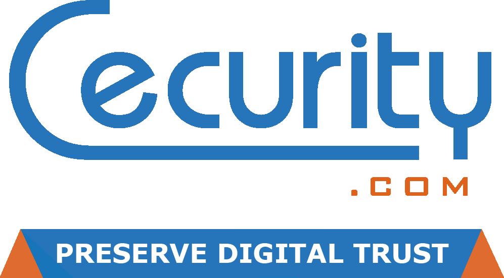 Logo cecurity bleu orange avec base line RVB Fond Transparent - e-Archiving